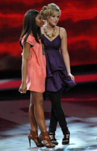 Megan Joy and Jasmine Murray onstage during the top 13th elimination of American Idol March 11th 2009 in Los Angeles California