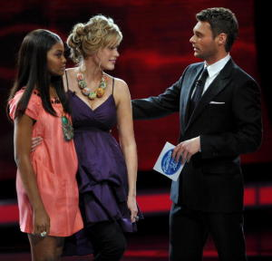 Megan Joy with Ryan Secrest and Jasmine Murray onstage during the top 13th elimination of American Idol March 11th 2009 in Los Angeles California