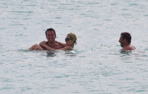 Paris Hilton and Doug Reinhardt are seen at the beach in Maundays bay at Hotel Cap Juluca on May 9th 2009 in Anguilla British Virgin Islands 3