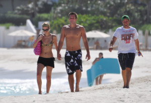 Paris Hilton and Doug Reinhardt are seen at the beach in Maundays bay at Hotel Cap Juluca on May 9th 2009 in Anguilla British Virgin Islands 2