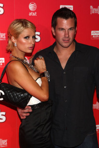 Paris Hilton and boyfriend Doug Reinhardt arrive at the Us Weekly Hot Hollywood Party held at My House nightclub on April 22nd 2009 in Hollywood California
