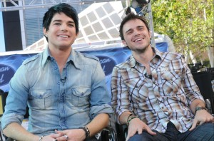 photos of Adam Lambert and Kris Allen during the press Conference Outside Nokia Theater on May 18th 2009