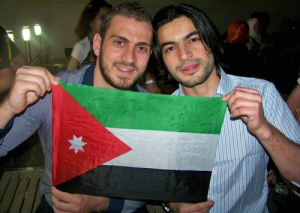 Zaher Zorgatti and Nazem Ezzideen waiting for Yahia Sweis at the airport