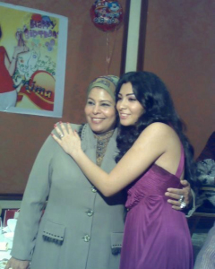 Mirhan Hussein at her birthday party with her mother