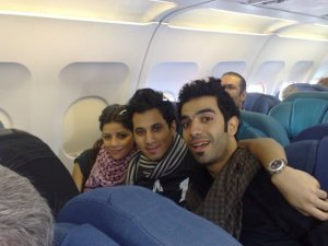 Diala Ouda with Mohamed Serag inside the airplane