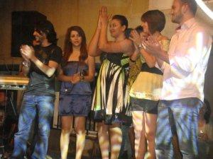 picture of Diae Ettayebi with LBC Star Academy season6 students Diala Ouda Michel Rmeih Nazem Ezzeddine Zaher Zorgatti and Ines Lasswad during a live celebration in Amman Jordan in May 2009