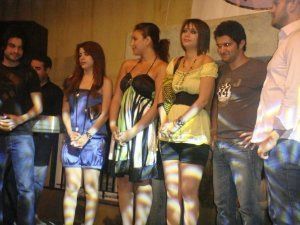 picture of Diae Ettayebi with LBC Star Academy season6 students Ines Lasswad Diala Ouda Nazem Ezzeddine Zaher Zorgatti and Michel Rmeih during a live celebration in Amman Jordan in May 2009