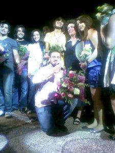 picture of LBC Star Academy season6 students Diala Ouda Michel Rmeih Nazem Ezzeddine Zaher Zorgatti and Ines Lasswad during a live celebration in Amman Jordan in May 2009