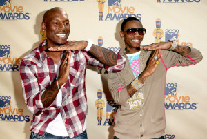 Tyrese Gibson and rapper Soulja Boy attend at the 18th Annual MTV Movie Awards on May 31st 2009 2