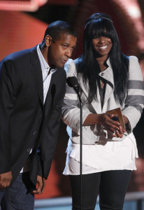 Denzel Washington and his daughter Katia Washington present the Best Movie award onstage during the 18th Annual MTV Movie Awards on May 31st 2009