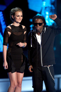 Leighton Meester and rapper Lil Wayne at the MTV Movie Awards on May 31st 2009