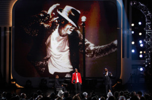 Jamie Foxx with NeYo on stage for the tribute to the late singer Michael Jackson during the 2009 BET Awards 17