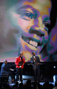 Jamie Foxx with NeYo on stage for the tribute to the late singer Michael Jackson during the 2009 BET Awards 6