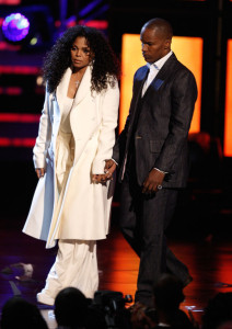 Janet Jackson onstage with Jamie Foxx to give a speech about her brother Michael Jackson onstage during the 2009 BET Awards