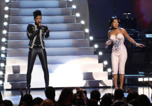 Keyshia Cole and Monica performing onstage during the 2009 BET Awards held at the Shrine Auditorium on June 28th 2009 in Los Angeles 1