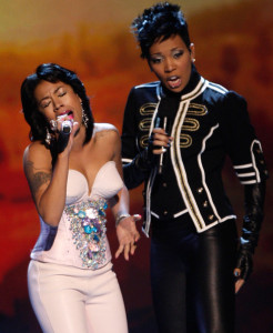 Keyshia Cole and Monica performing onstage during the 2009 BET Awards held at the Shrine Auditorium on June 28th 2009 in Los Angeles 3