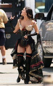 Megan Fox on the filming set wearing a medivial outfit 1