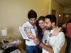 Ibrahim Dashti with Star Academy staff backstage 2