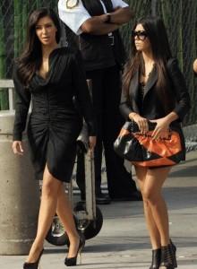 Kim Kardashian arrives at Michael Jackson public Memorial service on July 7th 2009 with her sister Kourtney Kardashian