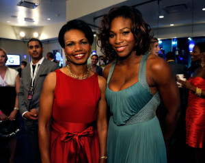 Condoleezza Rice and tennis player Serena Williams backstage picture during the 17th Annual ESPY Awards