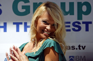 Pamela Anderson holds a press conference at the Hotel Avala for plans of future spa hotel investment