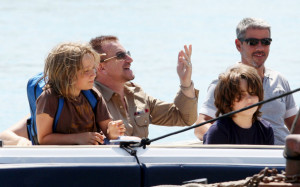Bono from U2 with his wife Ali Hewson and their two sons Elijah 10 years old and John eight years olf where seen on a boat during their vacation on July 16th 2009 1