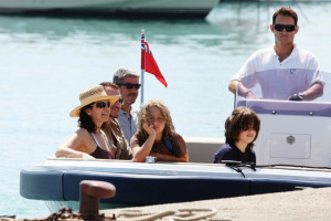 Bono from U2 with his wife Ali Hewson and their two sons Elijah 10 years old and John eight years olf where seen on a boat during their vacation on July 16th 2009 3