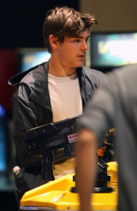 Zac Efron seen at an arcade game place before going to see the new movie BRUNO on July 16th 2009 2