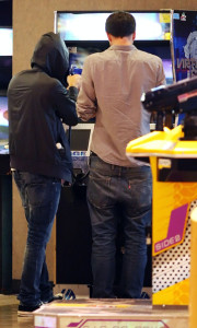 Zac Efron seen at an arcade game place before going to see the new movie BRUNO on July 16th 2009 4