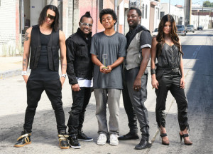 The Black Eyed Peas pose together during a photo shoot downtown in July 2009 1