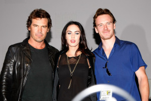 Megan Fox speaks during a panel for Jonah Hex at ComicCon 2009 in San Diego on July 23rd 2009 with Josh Brolin and Michael Fassbender