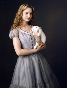 Alice In Wonderland 2010 Disney movie and a picture of Mia Wasikowska as Alice
