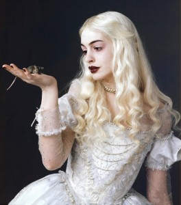 Alice In Wonderland 2010 Disney movie and a picture of Anne Hathaway as the White Queen