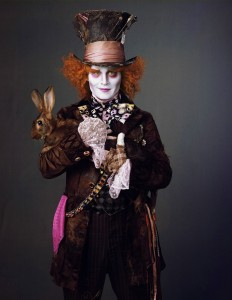 Alice In Wonderland 2010 Disney movie and a picture of Johnny Depp as the Mad Hatter