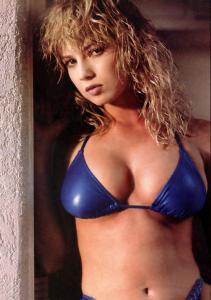 Traci Lords desktop wallpaper wearing a blue bikini