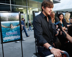 Ashton Kutcher arrives at the premiere of Anchor Bay Films ( Spread ) held at ArcLight Hollywood on August 3rd, 2009