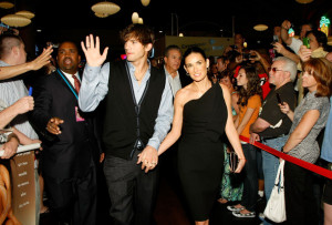 Demi Moore arrives with Ashton Kutcher at the screening of Anchor Bay Films ( Spread ) which is held at the Brenden Theatres inside the Palms Casino Resort on August 5th, 2009 in Las Vegas, Nevada