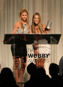 Alessandra Ambrosio on stage with model Doutzen Kroes as she accepts the Webby for Victorias Secret Best Fashion Site during the 13th Annual Webby Awards at Cipriani Wall Street on June 8th 2009 in New York 5