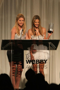 Alessandra Ambrosio on stage with model Doutzen Kroes as she accepts the Webby for Victorias Secret Best Fashion Site during the 13th Annual Webby Awards at Cipriani Wall Street on June 8th 2009 in New York 1