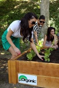 Kim Kardashian picture with sister Kourtney Kardashian planting a vegetable garden on August  6th 2009 7