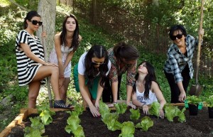 Kim Kardashian picture with her mother Kris Jenner and sisters Kourtney and Khloe Kardashian planting a vegetable garden on August  6th 2009 6