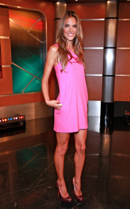 Alessandra Ambrosio appears at Good Day New York wearing a sweet mini pink dress in FOX Studios on August 11th 2009 7