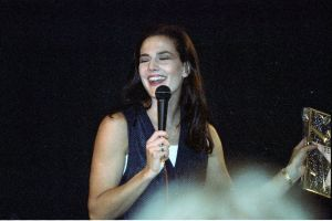 Terry Farrell picture on stage during a press conference in July 1994 5