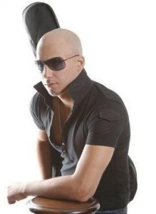 Mohamad Qwaider professional studio picture shaved head with his guitar