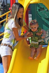 Alessandra Ambrosio plays in the park with her daughter Anja Louise Ambrosio Mazur in Malibu Los Angeles on August 30th 2009 1