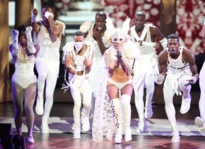 Lady Gaga perfoms at the 2009 MTV Video Music Awards at Radio City Music Hall on September 13, 2009 in New York City