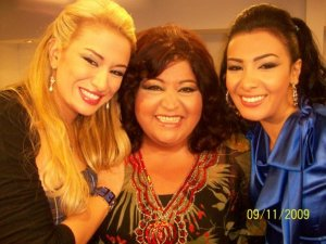 Rym Ghazali picture from Alo Meen on September 11th 2009 with Mirhan Hussein and lebanese actress Lilian