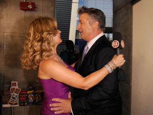 Mary Hart and actor Alec Baldwin at the 61st Primetime Emmy Awards held at the Nokia Theatre on September 20th 2009 in Los Angeles