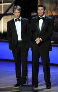 David Boreanaz and Stephen Moyer onstage presenting the Creative the Guest Actor and Actress In A Drama Series during the 61st Primetime Emmy Awards
