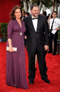 Elizabeth Perkins and Julio Macat arrive at the 61st Primetime Emmy Awards held at the Nokia Theatre on September 20th 2009 in Los Angeles